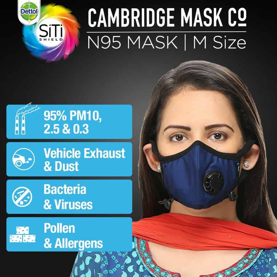 Dettol Cambridge Basic N95 Anti-pollution Mask, Navy Blue - Medium
