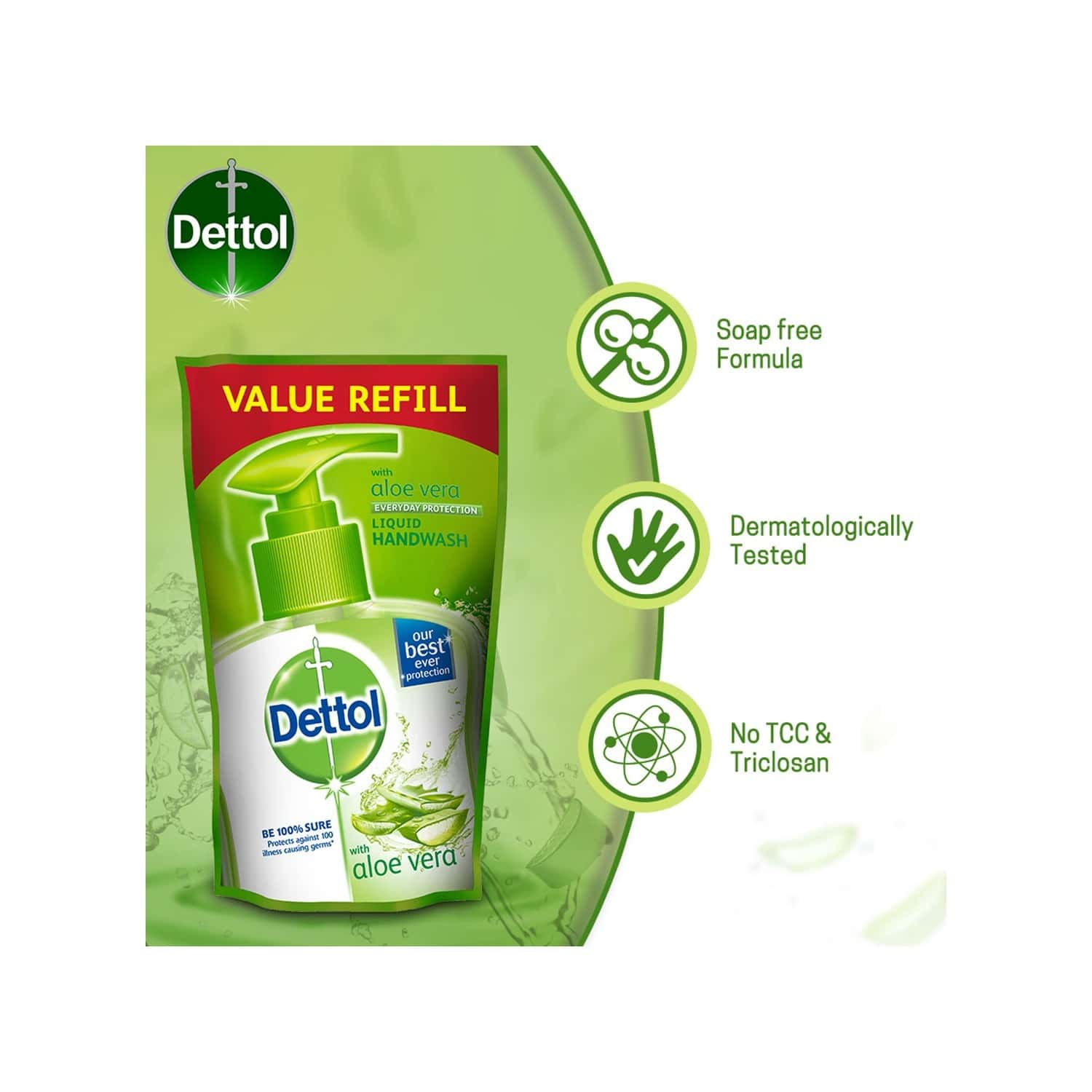 Dettol Germ Protection Aloe Vera (pack Of 3) Handwash Refill Of 175 Ml