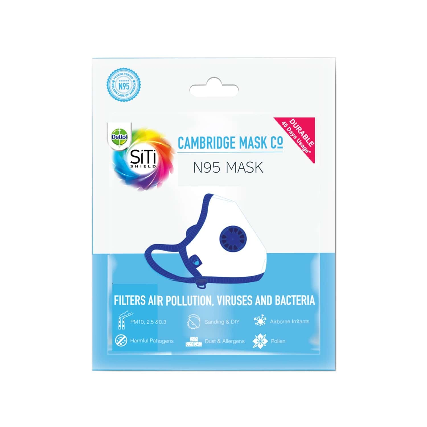 Dettol N95 Mask – Anti Virus, Reusable & Washable (black, Extra Large)