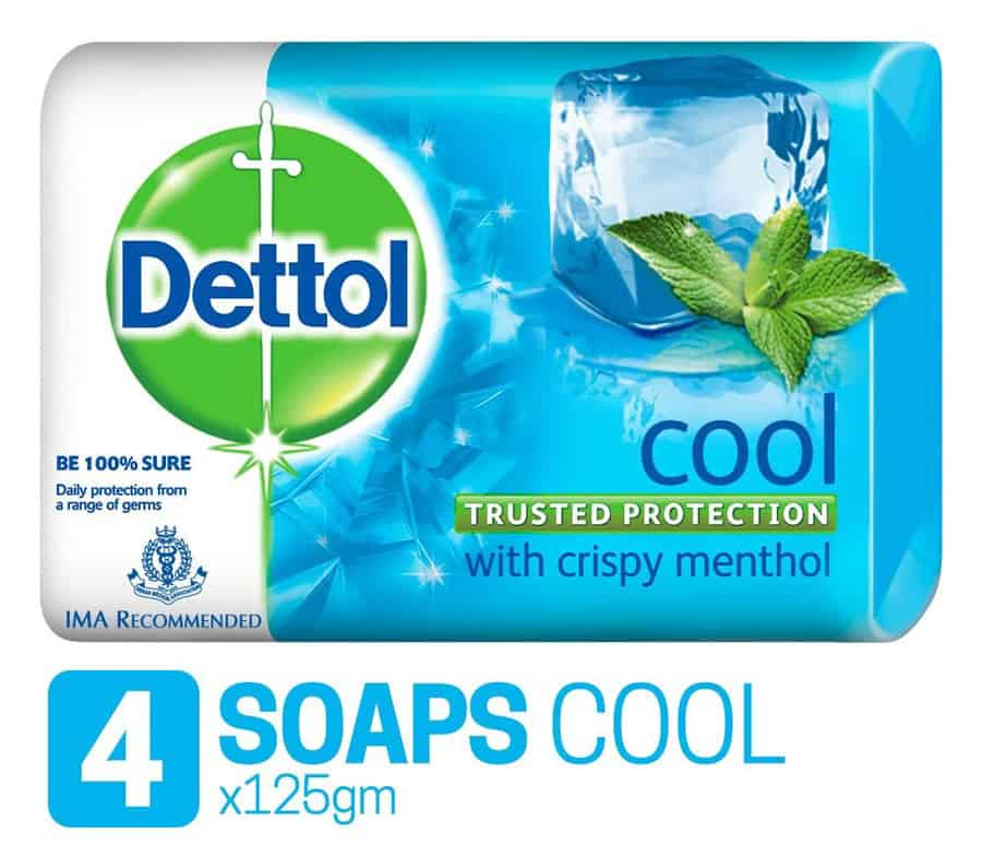 Dettol Germ Protection Bathing Bar Soap, Cool- 125g (pack Of 4)
