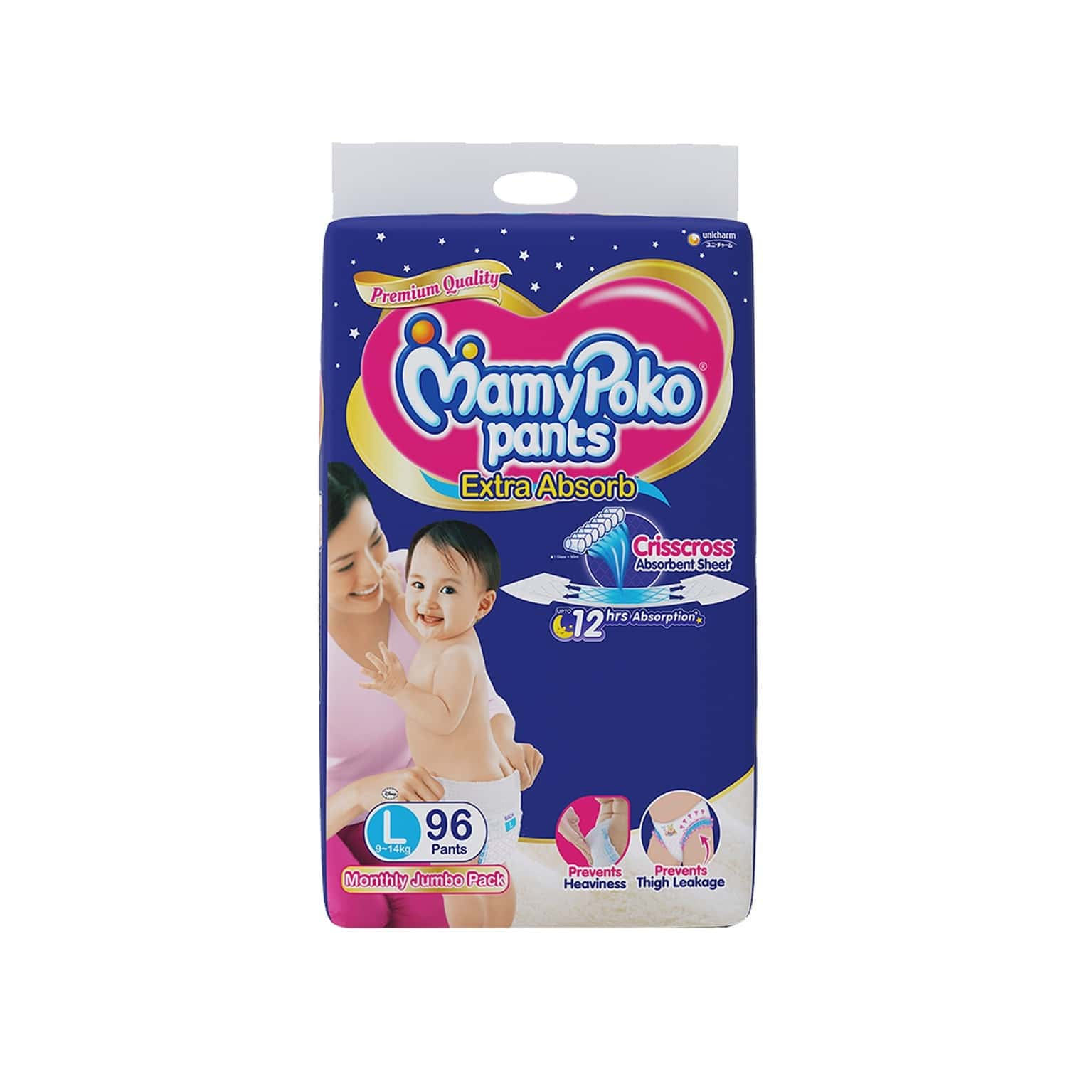 Mamypoko Pants Extra Absorb Diaper - Monthly Jumbo Pack-large Size, Pack Of 96 Diapers (l-96)