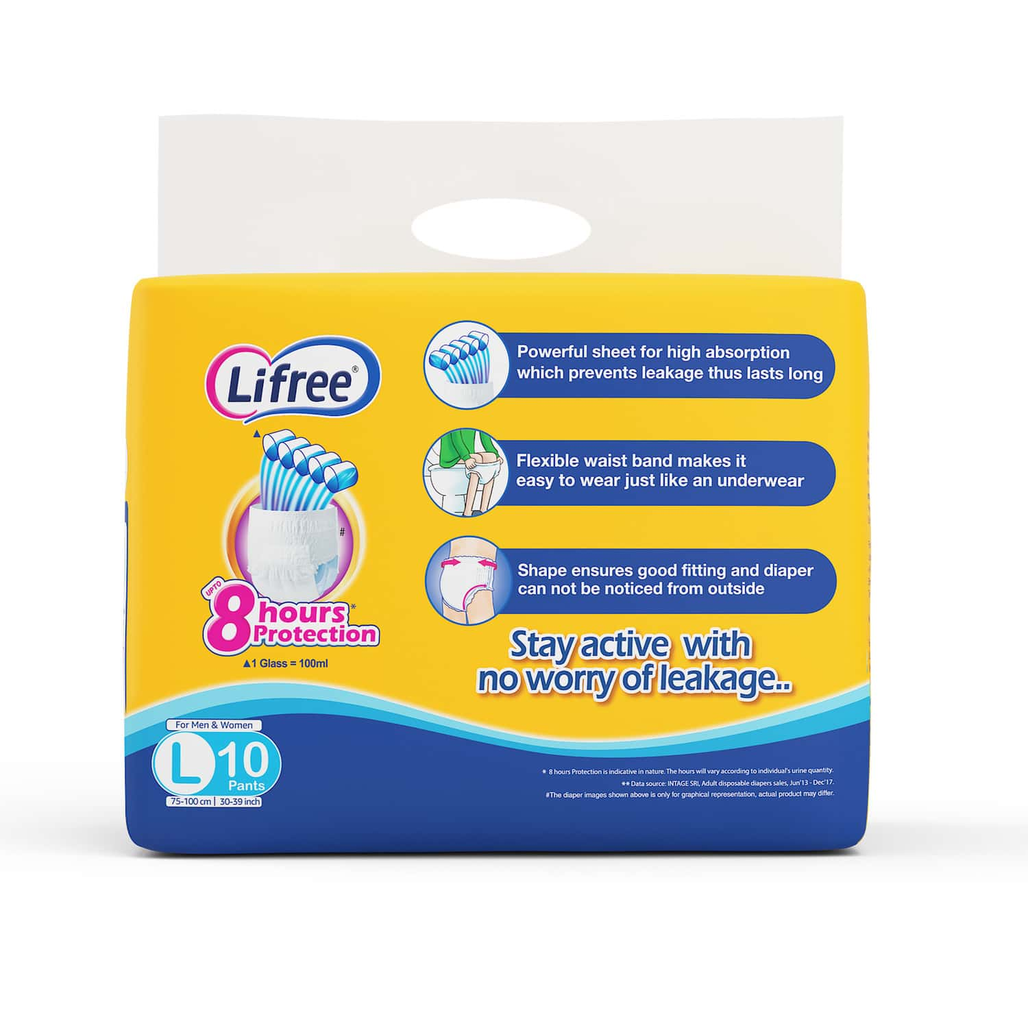 Lifree Large Size Diaper Pants, Pack Of 10 Diapers (l-10)