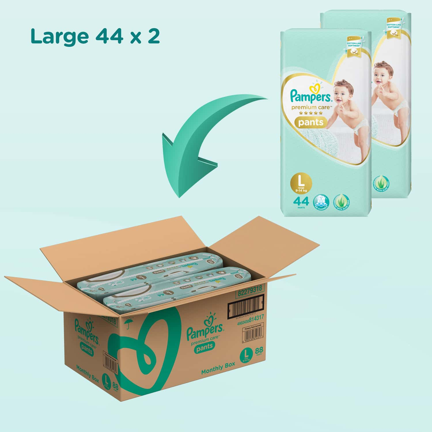 Pampers Premium Care Pants Diapers Large Size 88 Pieces Pack