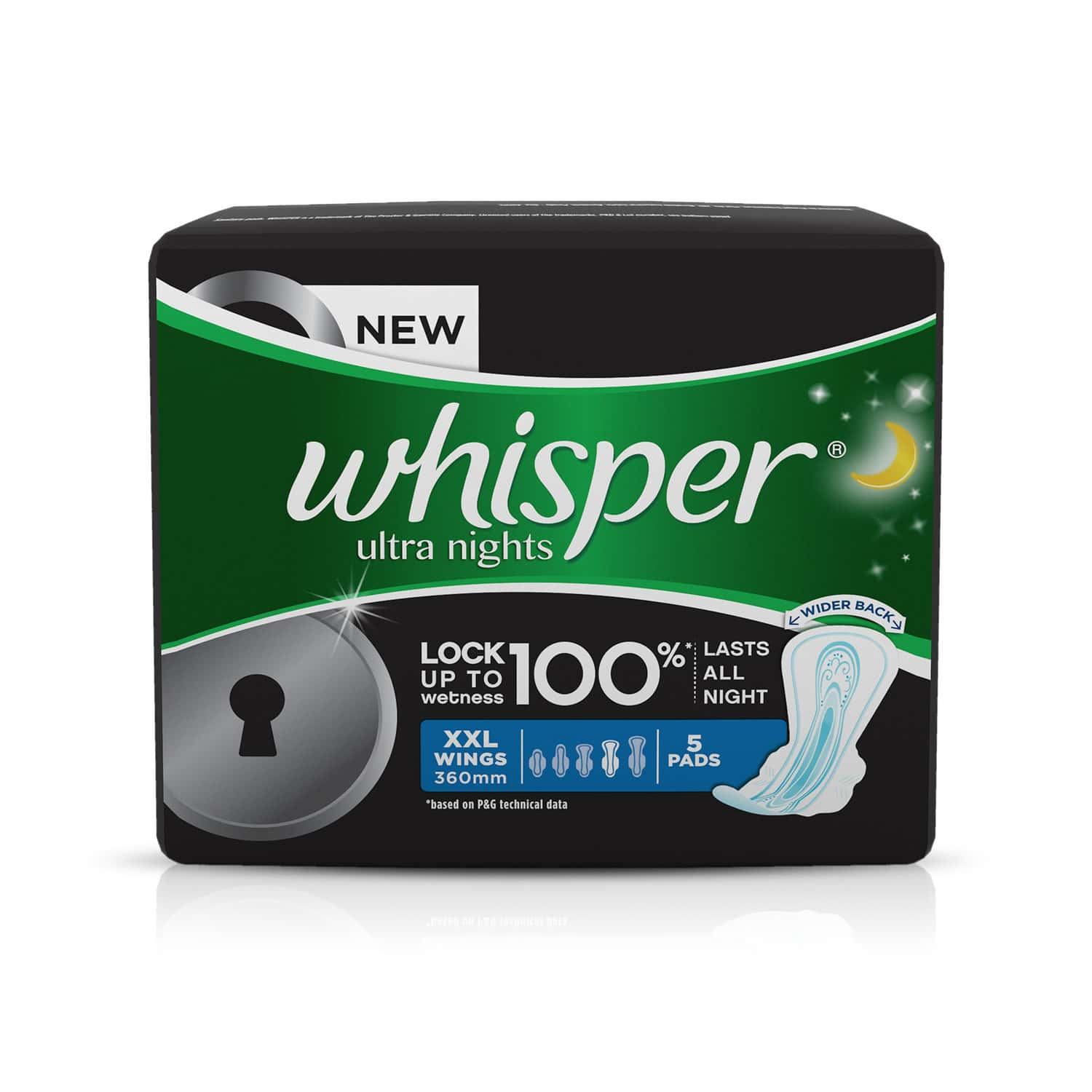 Whisper Ultra Nights Size Wing Xxl Sanitary Pads Packet Of 5
