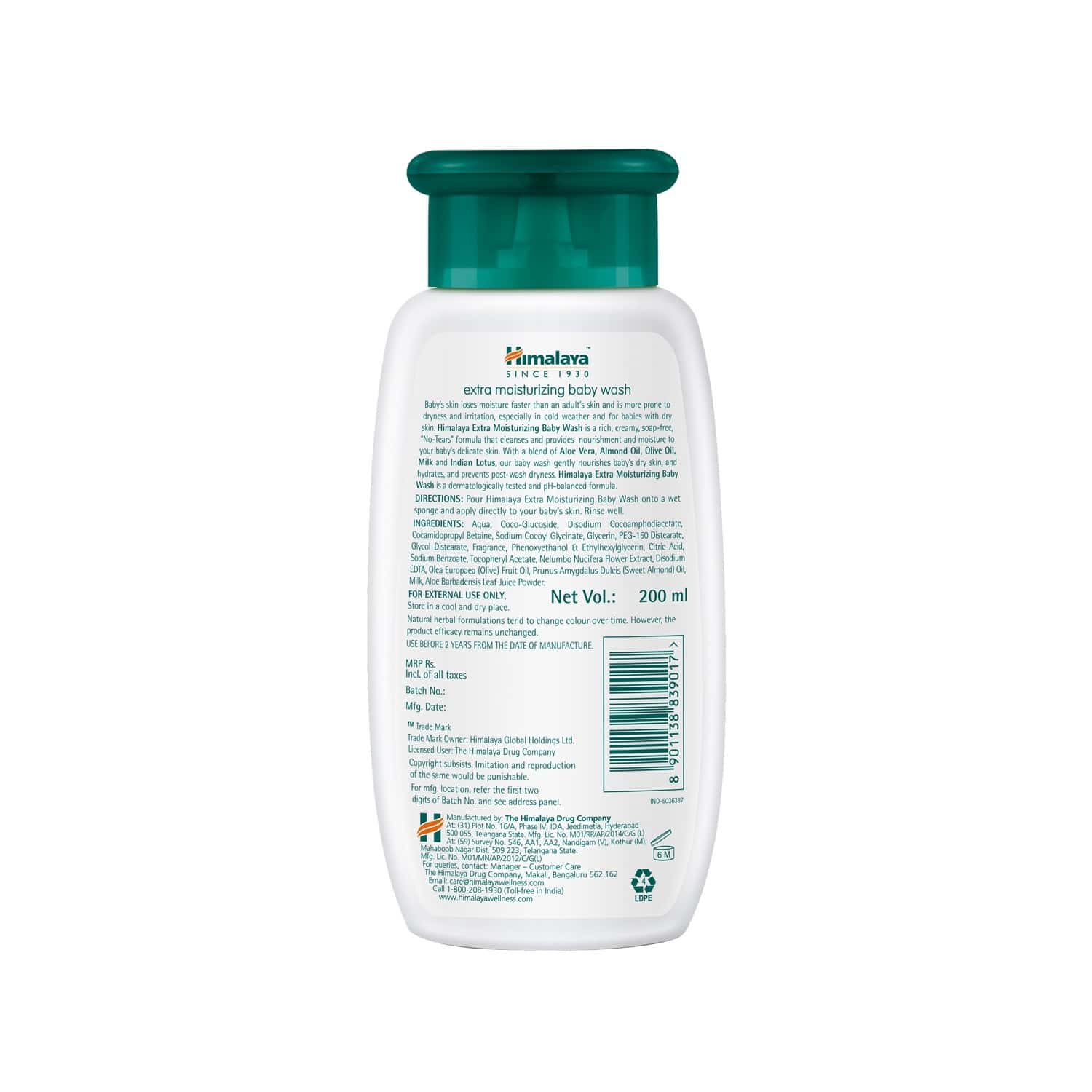 Himalaya Baby Extra Moisturizing Baby Wash Bottle Of 200 Ml