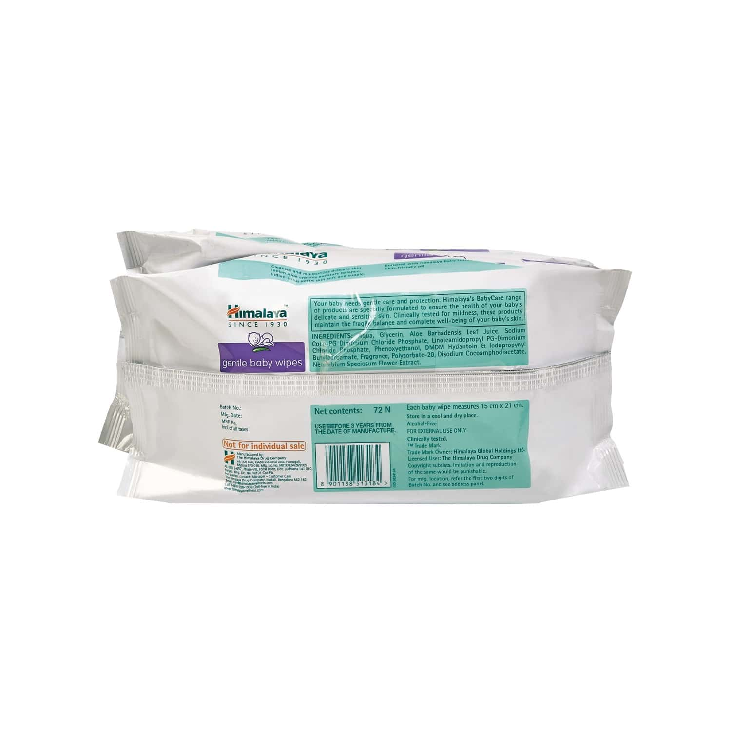 Himalaya Baby Wipes Packet Of 72 's (pack Of 2)