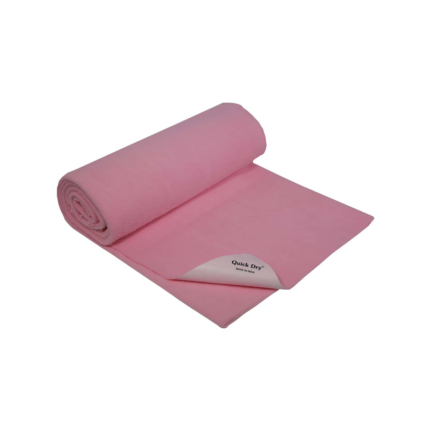 Quick Dry Baby Bed Protector - Plain Pink - Large - 140 X 100 Cms