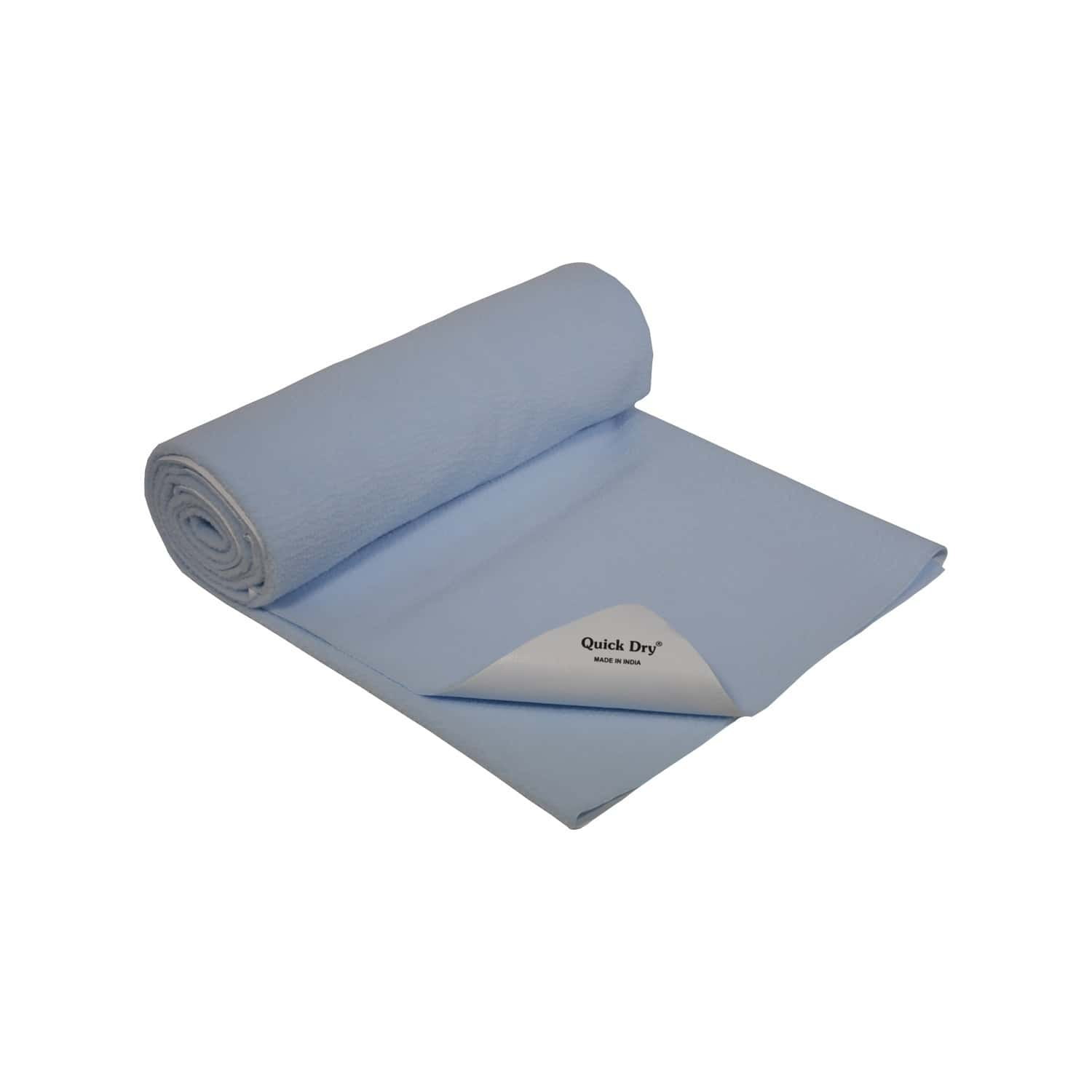 Quick Dry Baby Bed Protector - Plain Blue - Small - 70 X 50 Cms