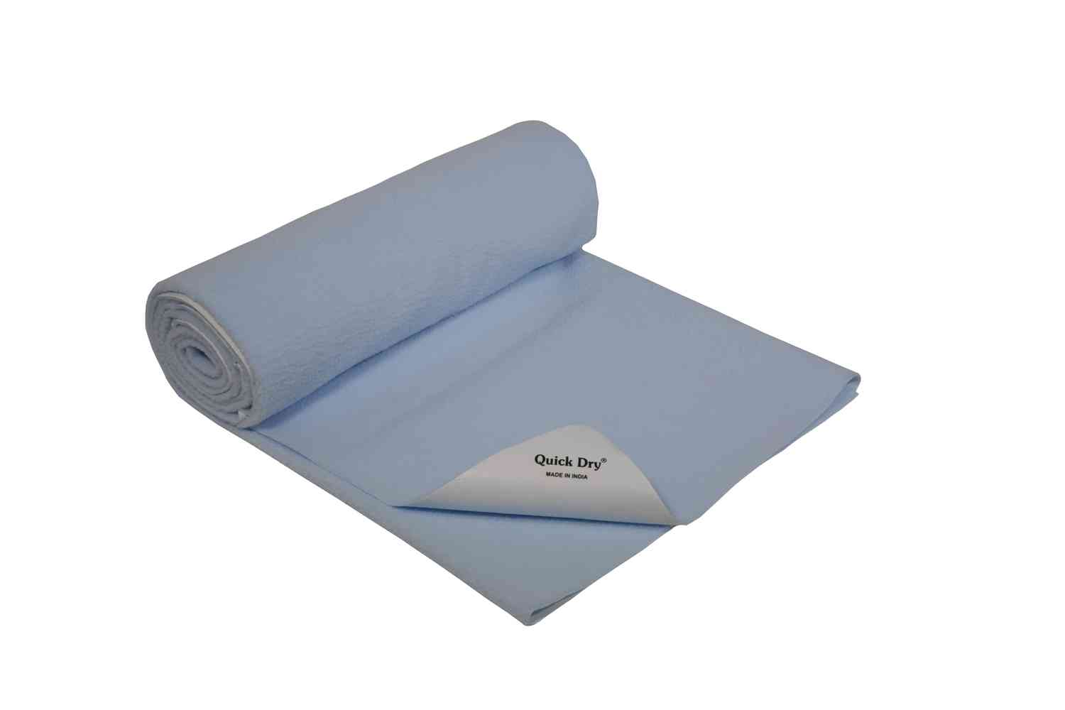 Quick Dry Baby Bed Protector - Plain Blue- Medium - 100 X 70 Cms