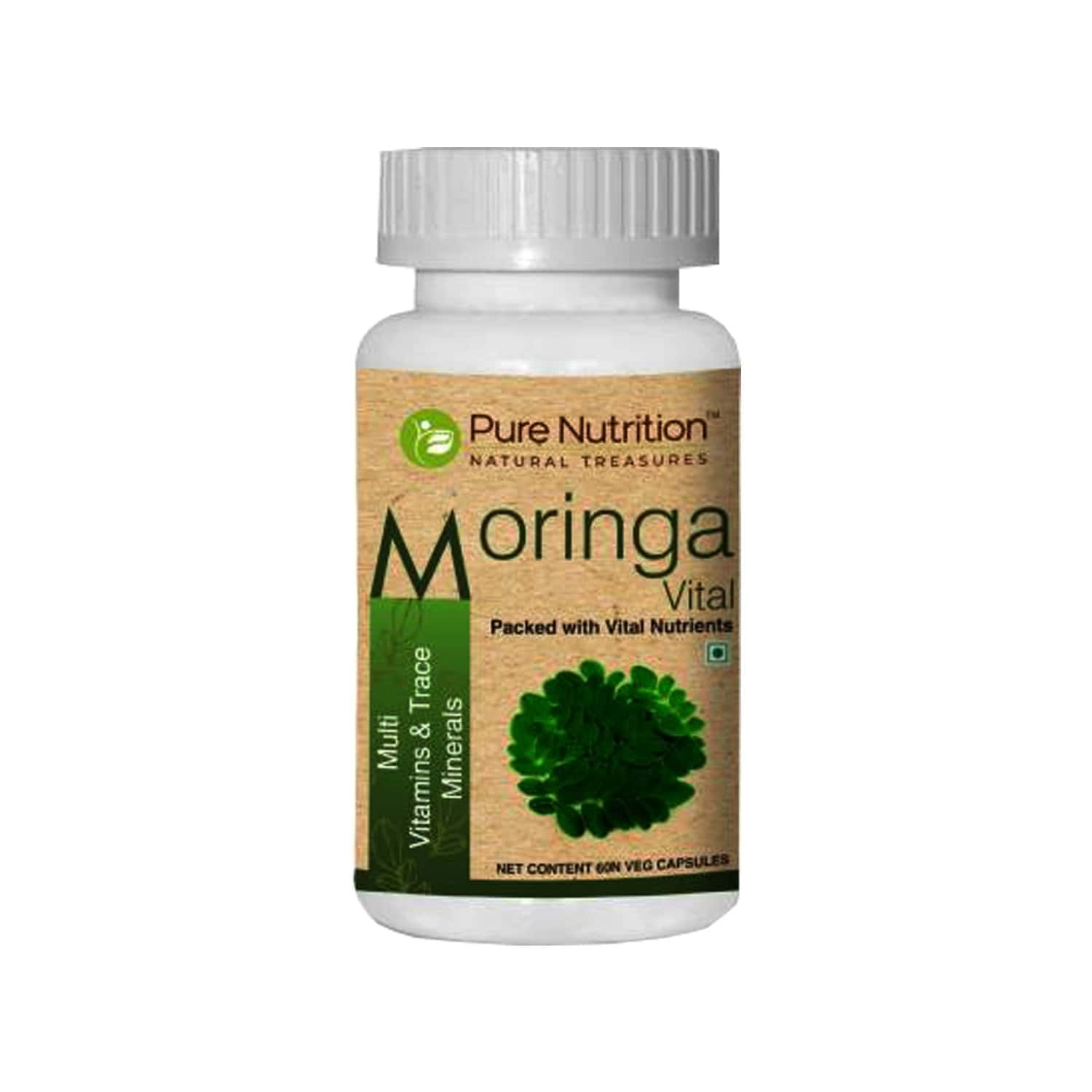 Pure Nutrition Moringa Vital Multivitamin Capsule Superfood, Natural Multivitamin, Increase Physical Energy, Rich In Iron & Essential Nutrients - 60 Veg Capsule
