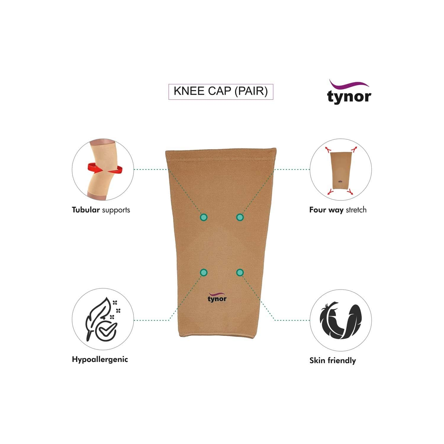 Tynor Knee Cap Pair ( Relieves Pain, Support, Uniform Compression) - Medium