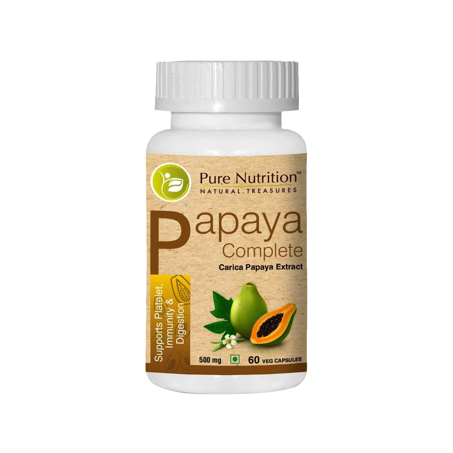 Pure Nutrition Papaya Complete (supports Platelet Immunity & Digestion) - 60 Caps