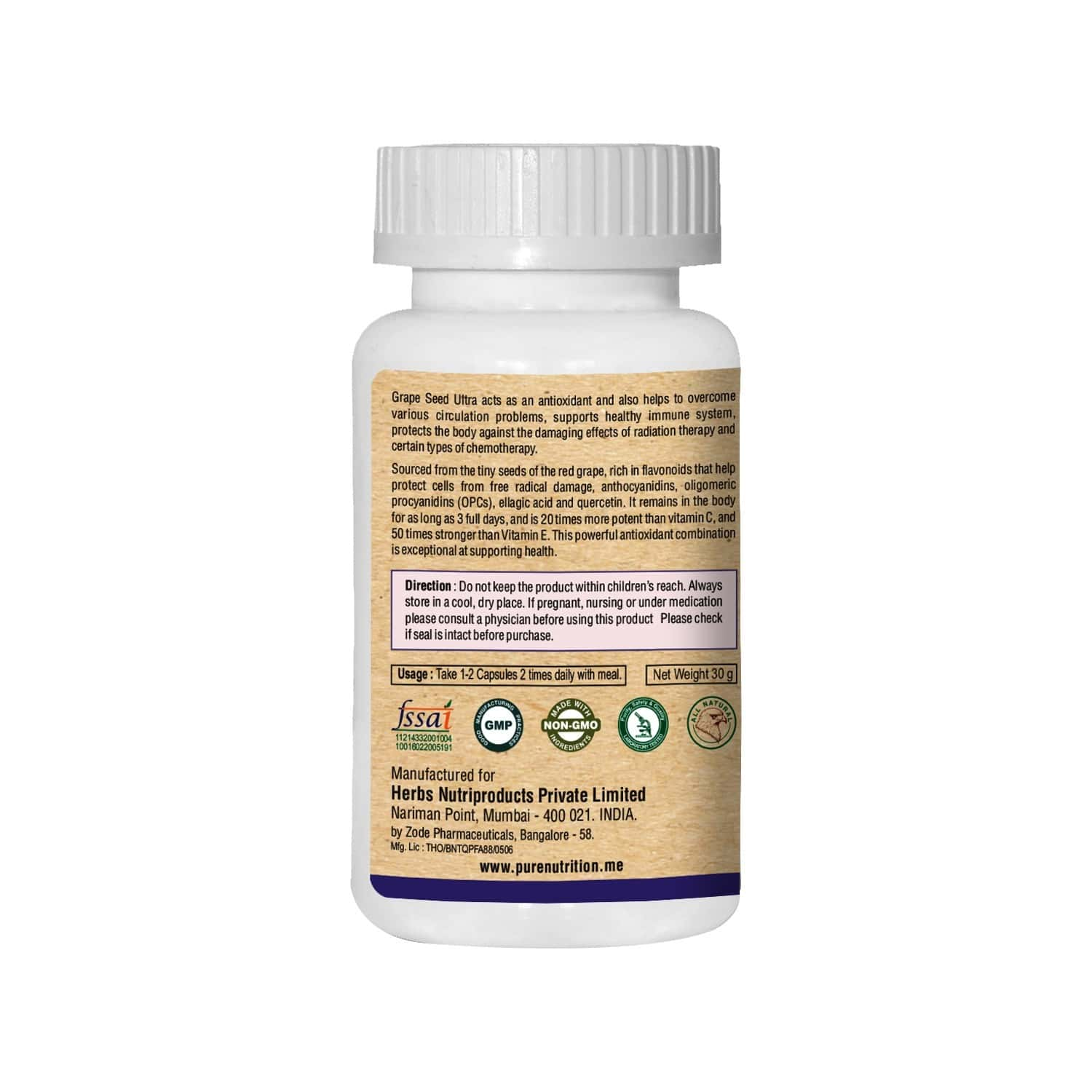 Pure Nutrition Grape Seed Ultra (rich In Quercetin & Opc) - 60 Caps
