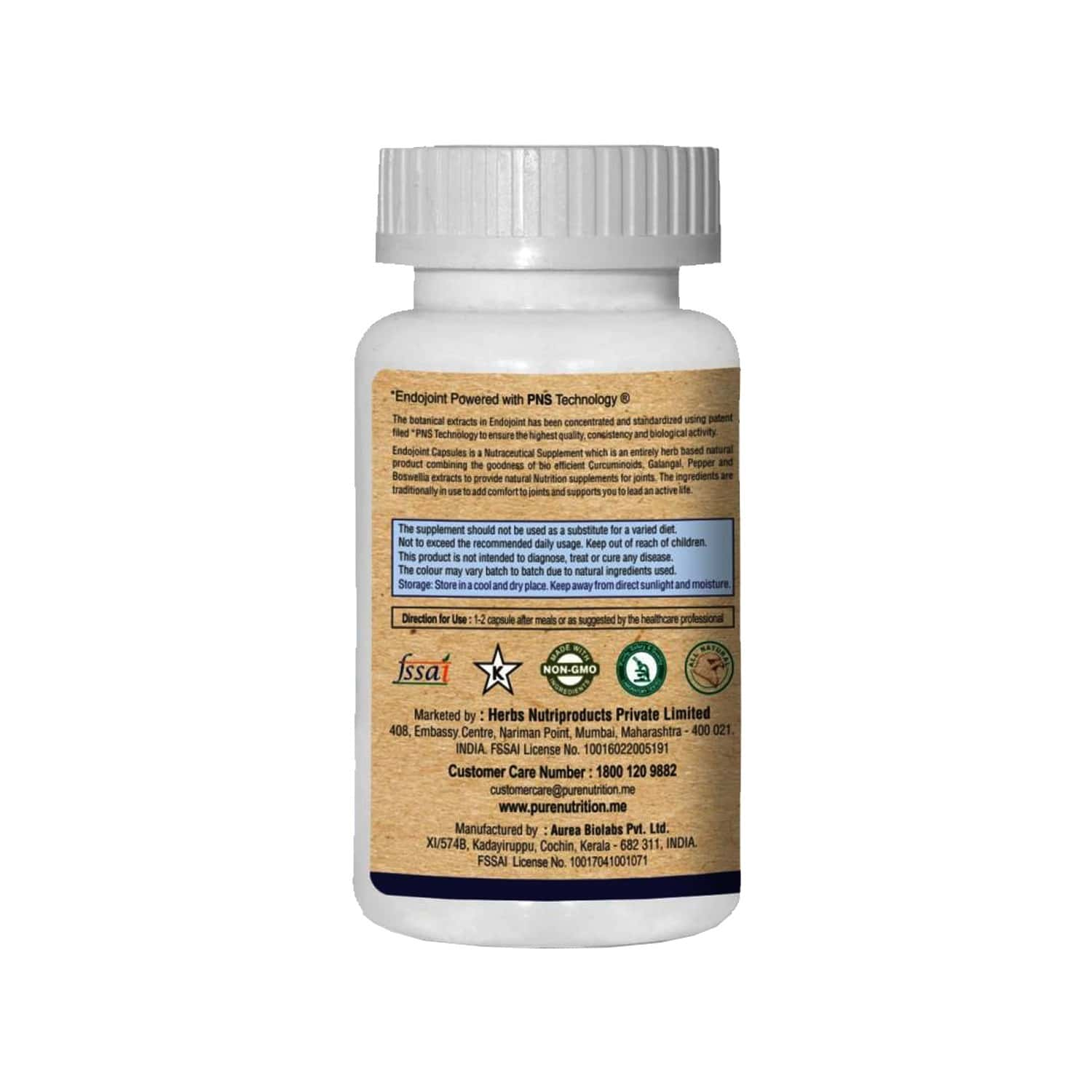 Pure Nutrition Endojoint (provides Natural Nutrition For Joints Health) - 30 Capsules