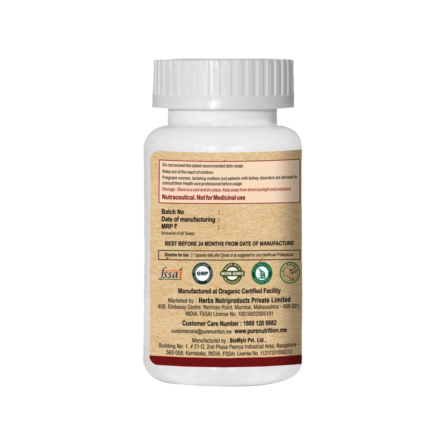 Pure Nutrition Oxy Plus (deep Cellular Cleansing With Oxygen) - 60 Caps