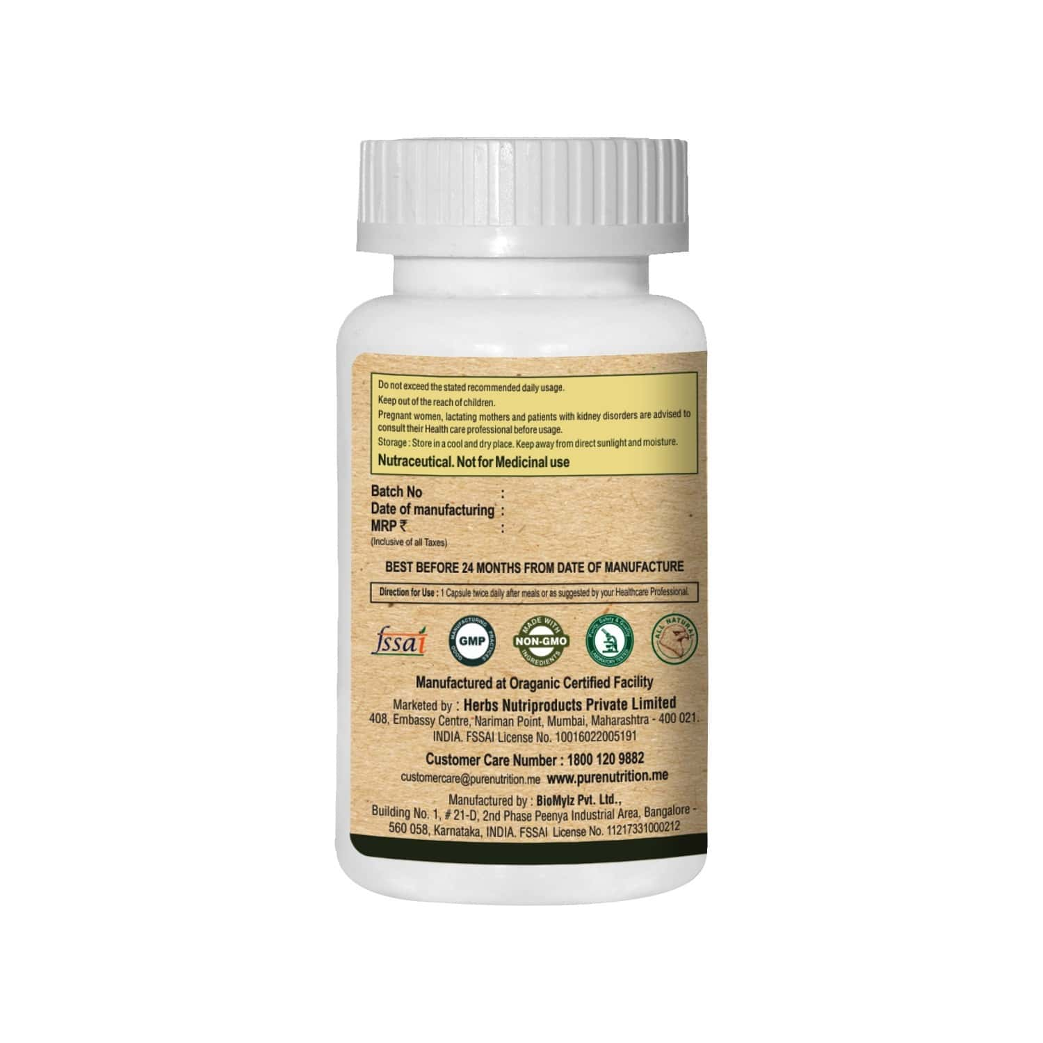 Pure Nutrition Green Coffee Bean With Chromium (promotes Metabolic Balance) - 60 Caps