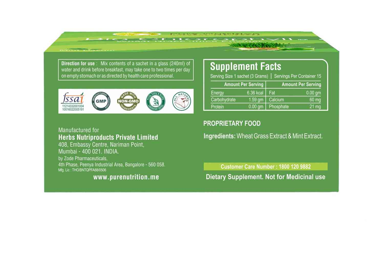 Pure Nutrition Bio Chlorophyll (wheat Grass Juice Powder) - 15 Sachets