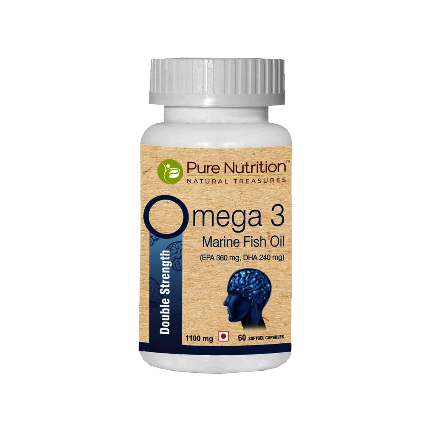 Pure Nutrition Omega 3 Double Strength Marine Fish Oil (1000mg Omega 3, With 360 Mg Epa & 240 Mg Dha) For Brain, Heart And Eye Health - 75 Softgel Capsules