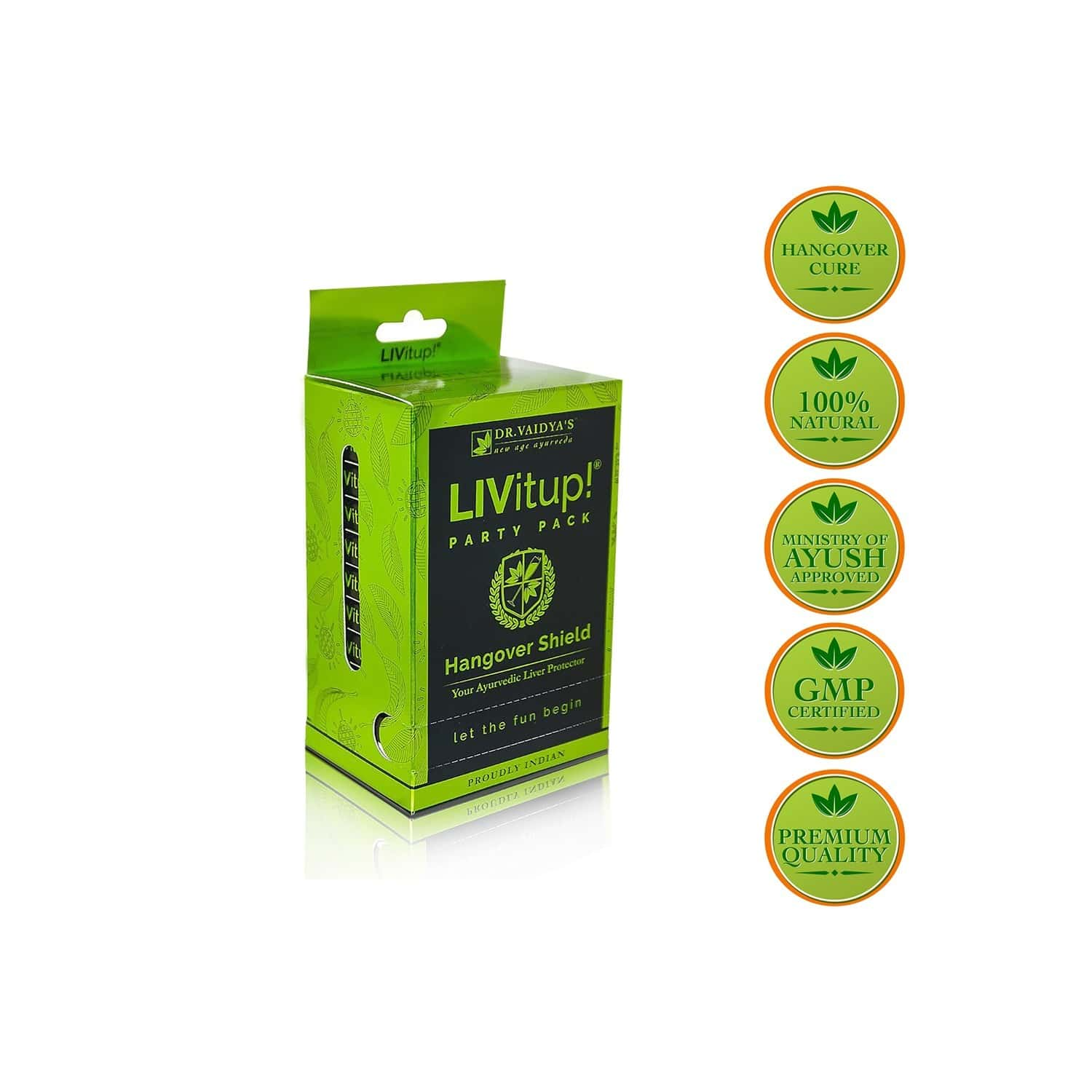 Dr. Vaidya's  Livitup! Party Pack | Hangover Shield And Liver Protector | 5 Capsules Each (pack Of 10)