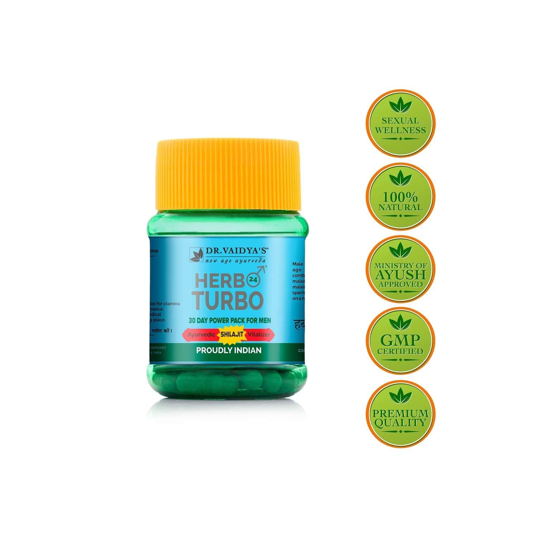 Dr. Vaidya's Herbo24turbo Capsules   Ayurvedic Shilajit Vitalizer For Men   30 Capsules