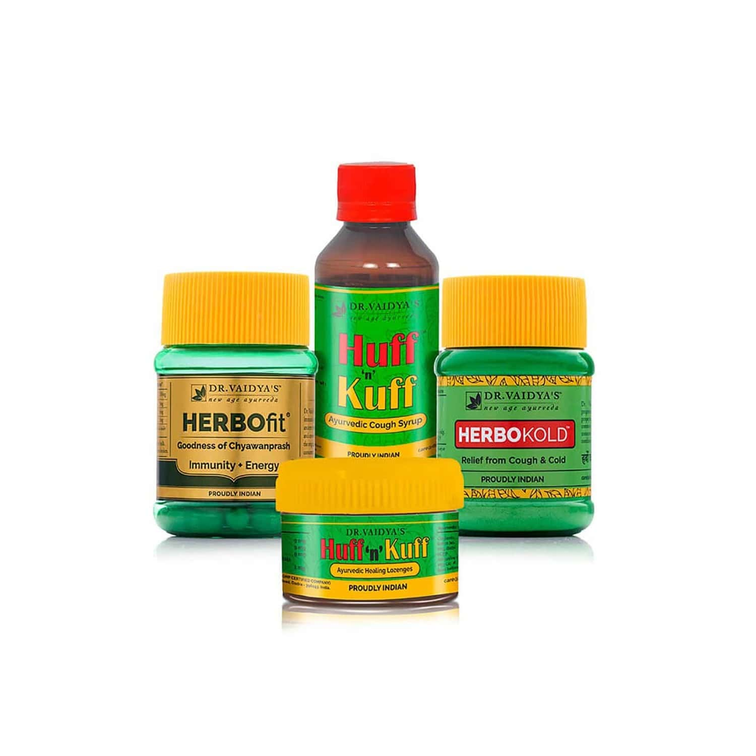 Dr. Vaidya's Cough And Cold Pack | Ayurvedic Relief From Cold And Cough | Herbofit (30 Capsules X 1) Huff N Kuff Lozenges (50 Pills X 1) Huff N Kuff Syrup (100ml X 2) Herbokold Powder (50gms X 2)
