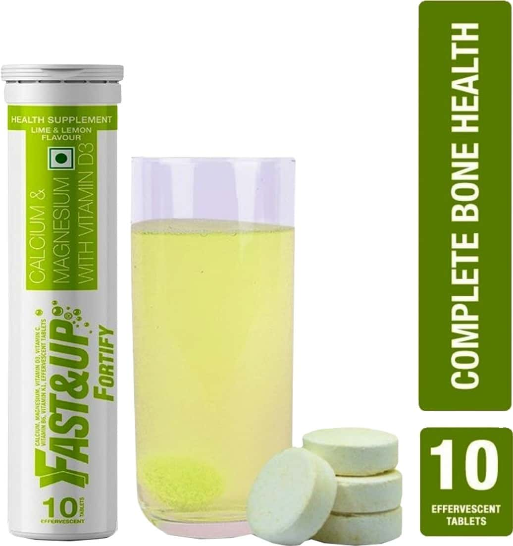 Fast&up Fortify Calcium With Vitamin D3 Supplement-500mg Effervescent Tablets-lime&lemon(10 Tabs)