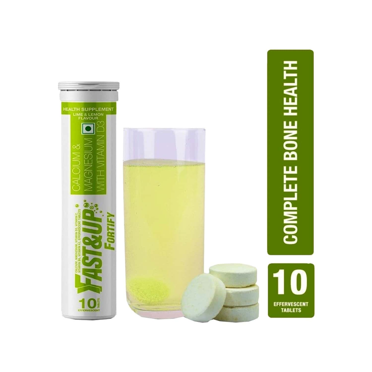 Fast&up Fortify Lime & Lemon Effervescent Tablets Bottle Of 10