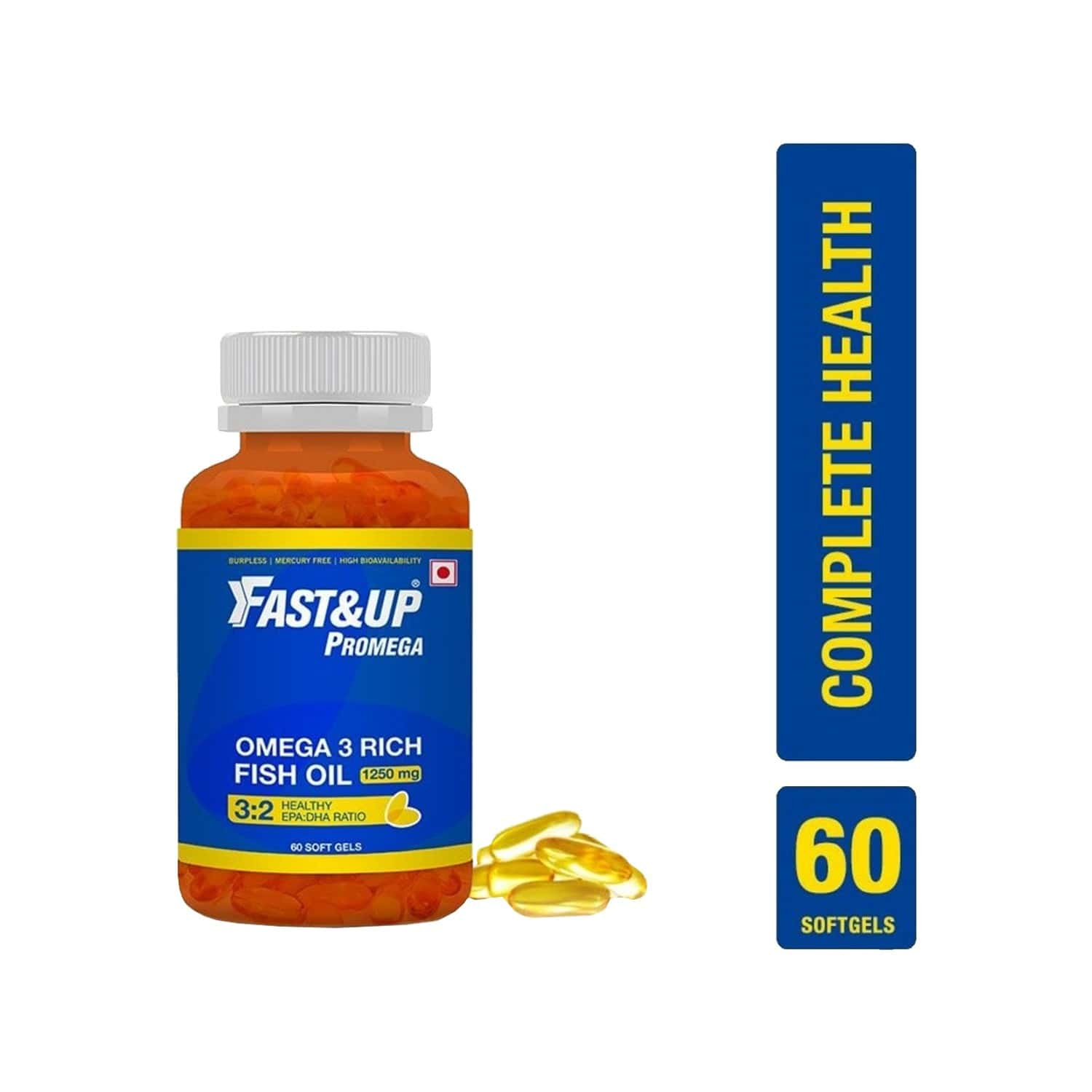 Fast & Up Promega 1250 Mg Chocolate Fish Oil Capsules Bottle Of 60