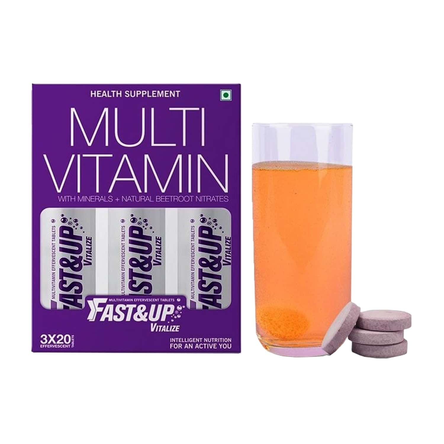 Fast&up Vitalize Daily Orange Effervescent Tablets Box Of 60