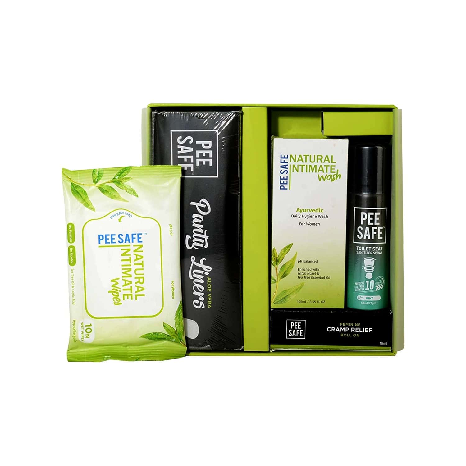 Pee Safe  Combikit  (25n Panty Liners|cramp Relief Roll On|toilet Seat Sanitizer Spray - Mint 50ml)