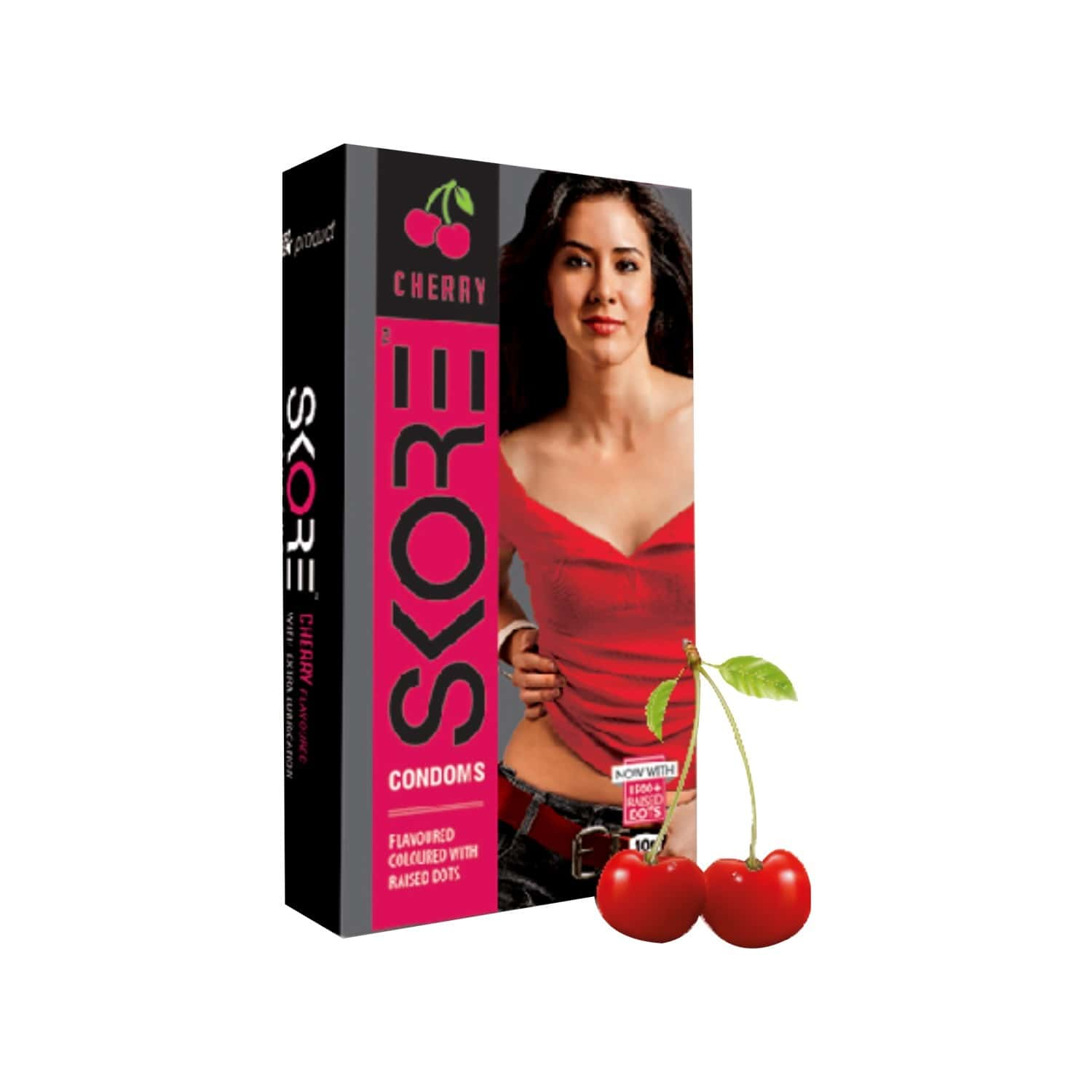 Skore Cherry Flavoured Dotted Condoms - Value Saver Pack Of 3 X 10s
