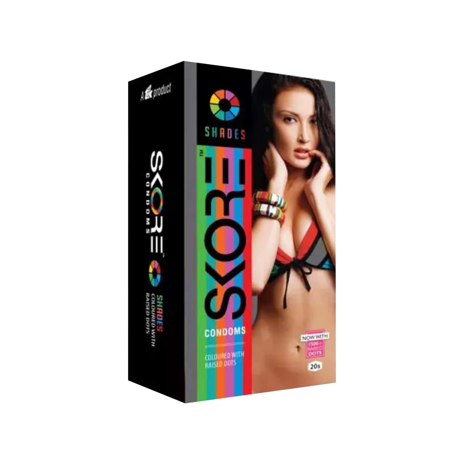 Skore Shades - Coloured & Dotted Condoms - Value Saver Pack Of 2 X 20s