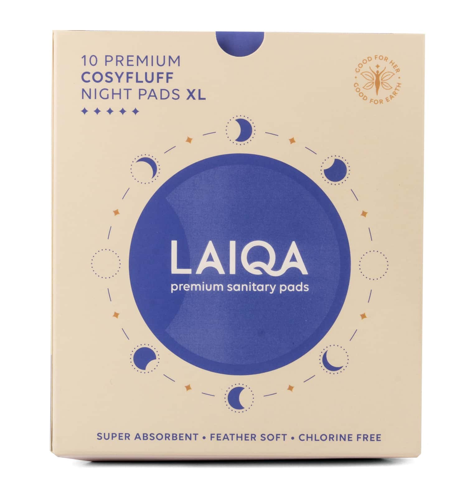 Laiqa Premium Sanitary Napkins Cosyfluff Night Pads Xl 10 Pads 315mm