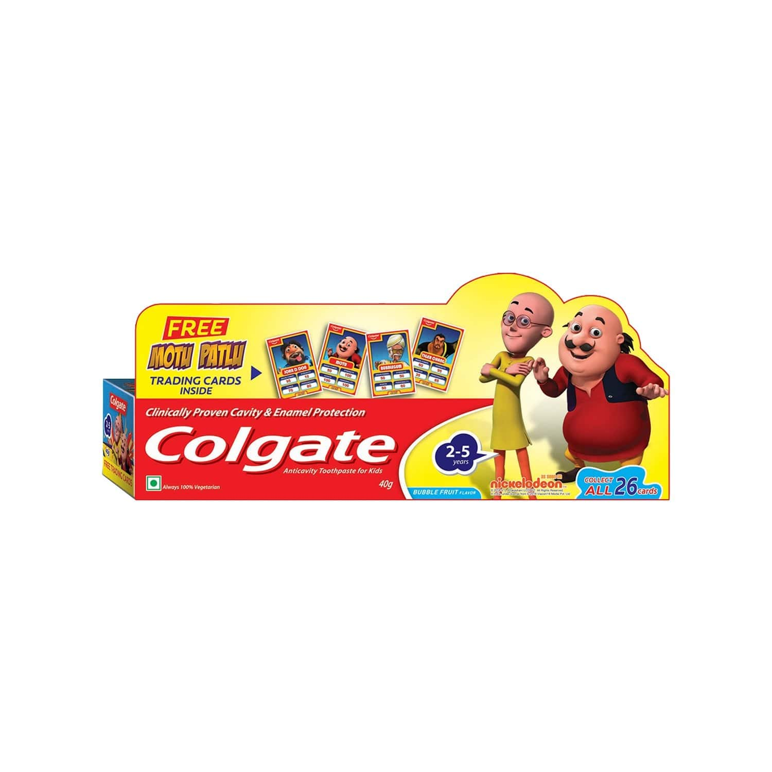 Colgate Anticavity Toothpaste For Kids (2-5 Years), Bubble Fruit Flavour - 40g (with Free Motu Patlu Trading Cards)