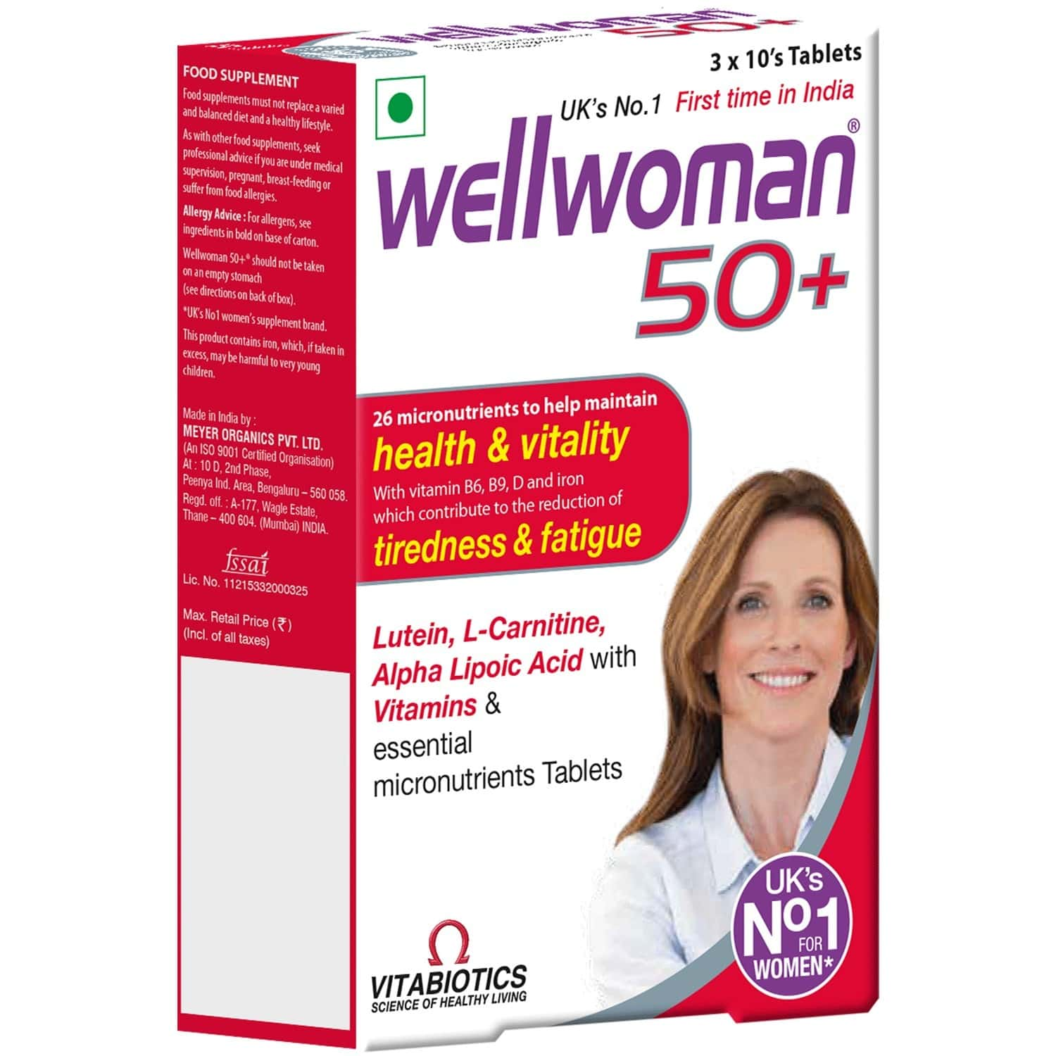 Wellwoman 50+  Health Supplement Tablets (26 Vitamins And Minerals) Box Of 30