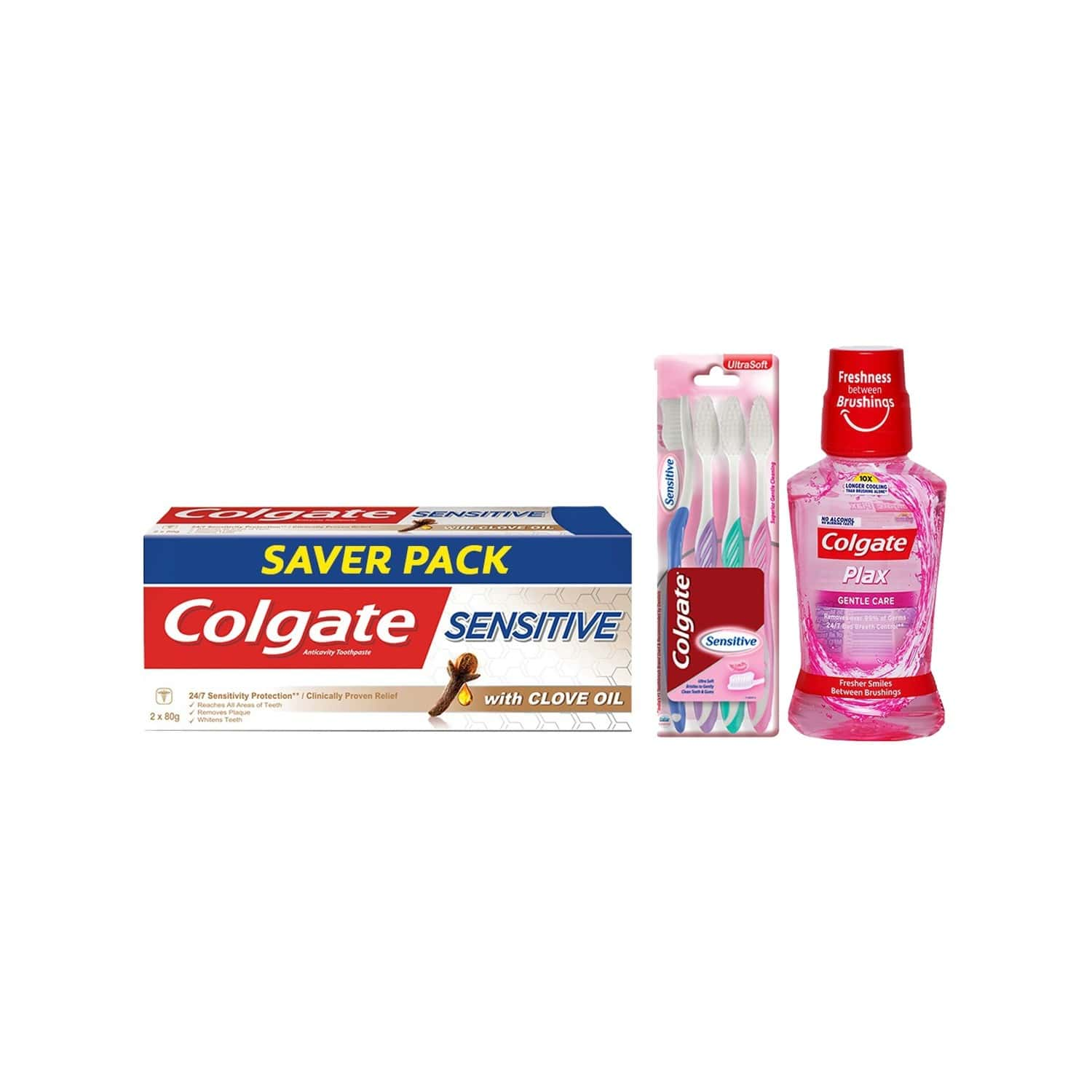 Colgate Sensitive With Clove Oil Toothpaste - 80gm (buy 1 Get 1 Free) With Sensitive Toobrush (pack Of 4) And Plax Sensitive Mouthwash - 250ml