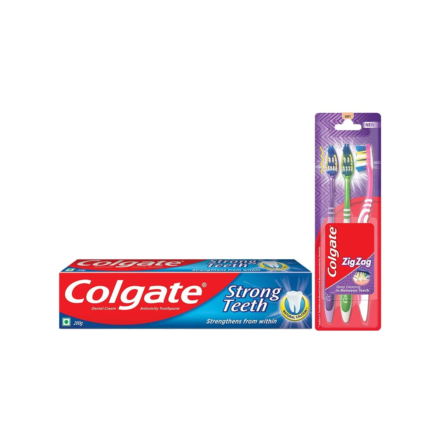 Colgate Strong Teeth Toothpaste - 200gm With Zigzag Toothbrush - 3 Pcs