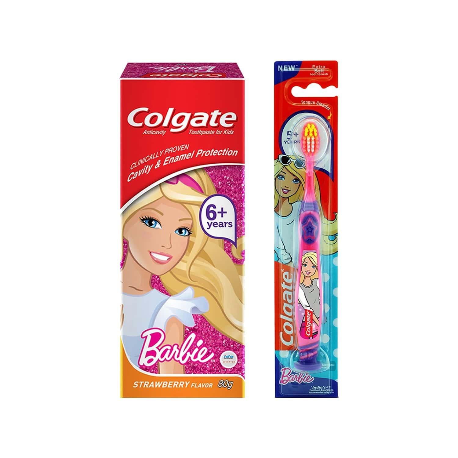 Colgate Kid's Anticavity Barbie Toothpaste (6+ Year) With Barbie Soft Bristles Toothbrush - 1 Pc