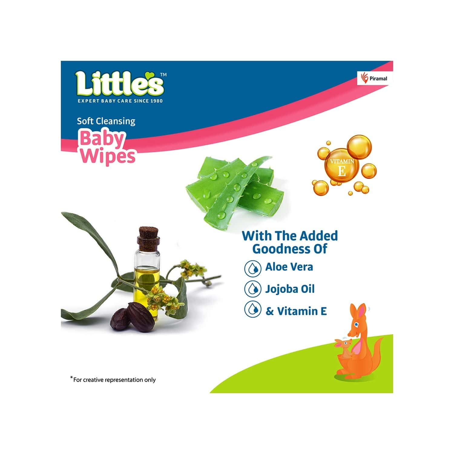 Little's Soft Cleansing Baby Wipes With Aloe Vera Jojoba Oil And Vitamin E - 30 Wipes