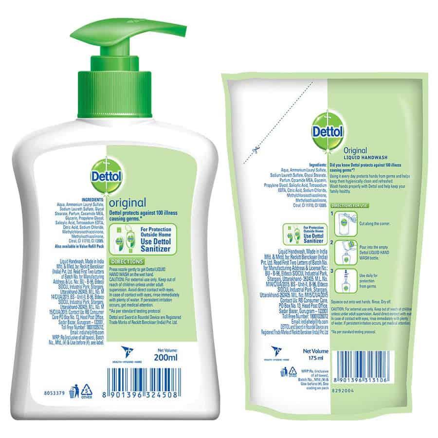 Dettol Skincare 200 Ml Pump + 175 Ml Refill (original Or Skincare)