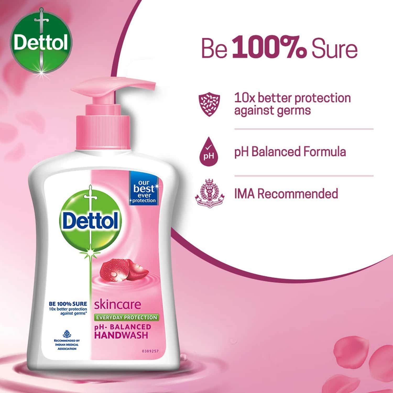 Dettol Skincare Handwash Pump + Free Skincare Refill, 200ml + 175ml