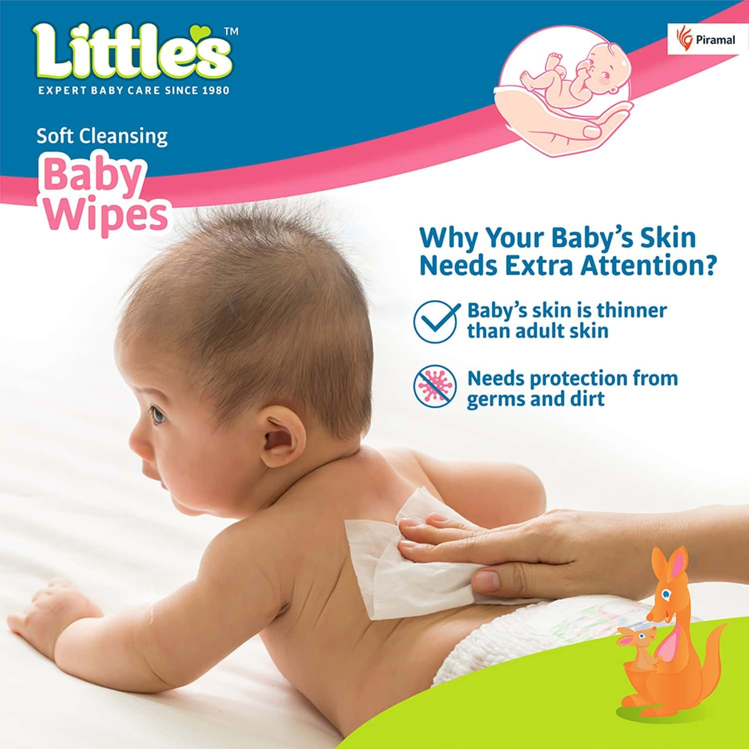Little's Soft Cleansing Baby Wipes With Aloe Vera Jojoba Oil And Vitamin E - 80 Wipes