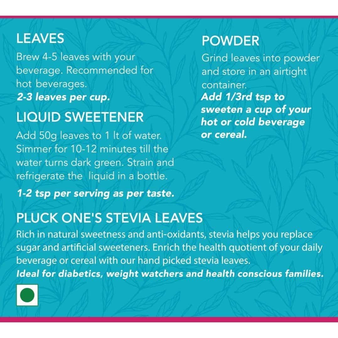Pluck One Premium Dried Stevia Leaves 50gms