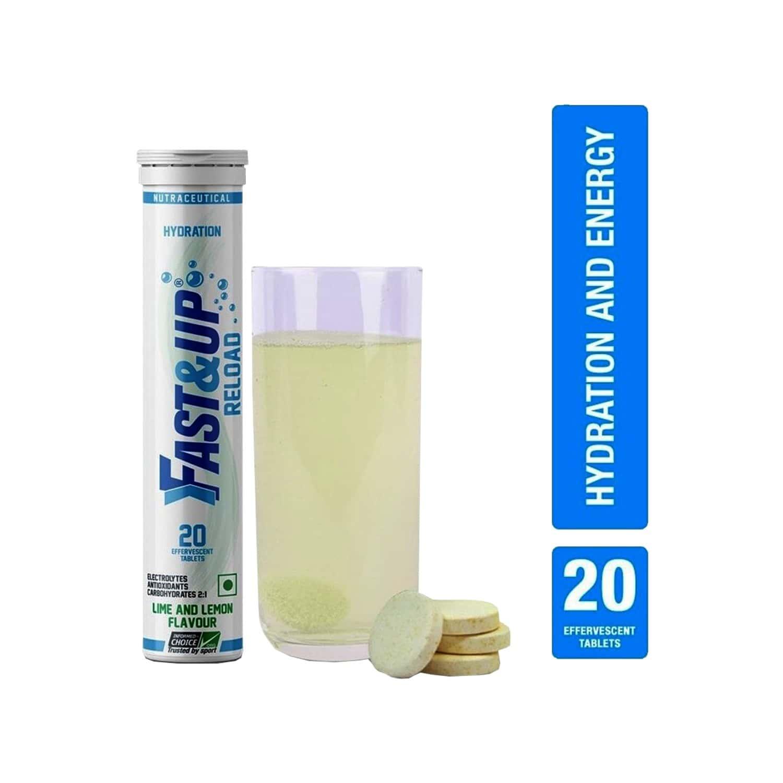 Fast&up Reload Lime & Lemon Effervescent Tablets Bottle Of 20