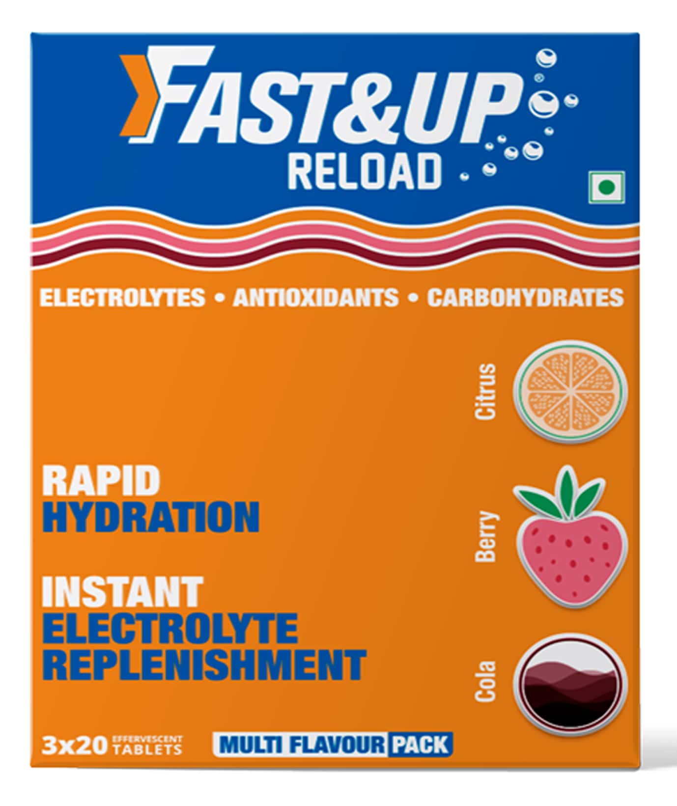 Fast&up Reload Berry, Cola, Lime & Lemon Effervescent Tablets Box Of 60