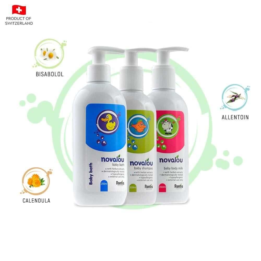 Novalou Body Wash, Tear Free Shampoo, Body Milk With Eu Certified Natural Ingredients For Infants &