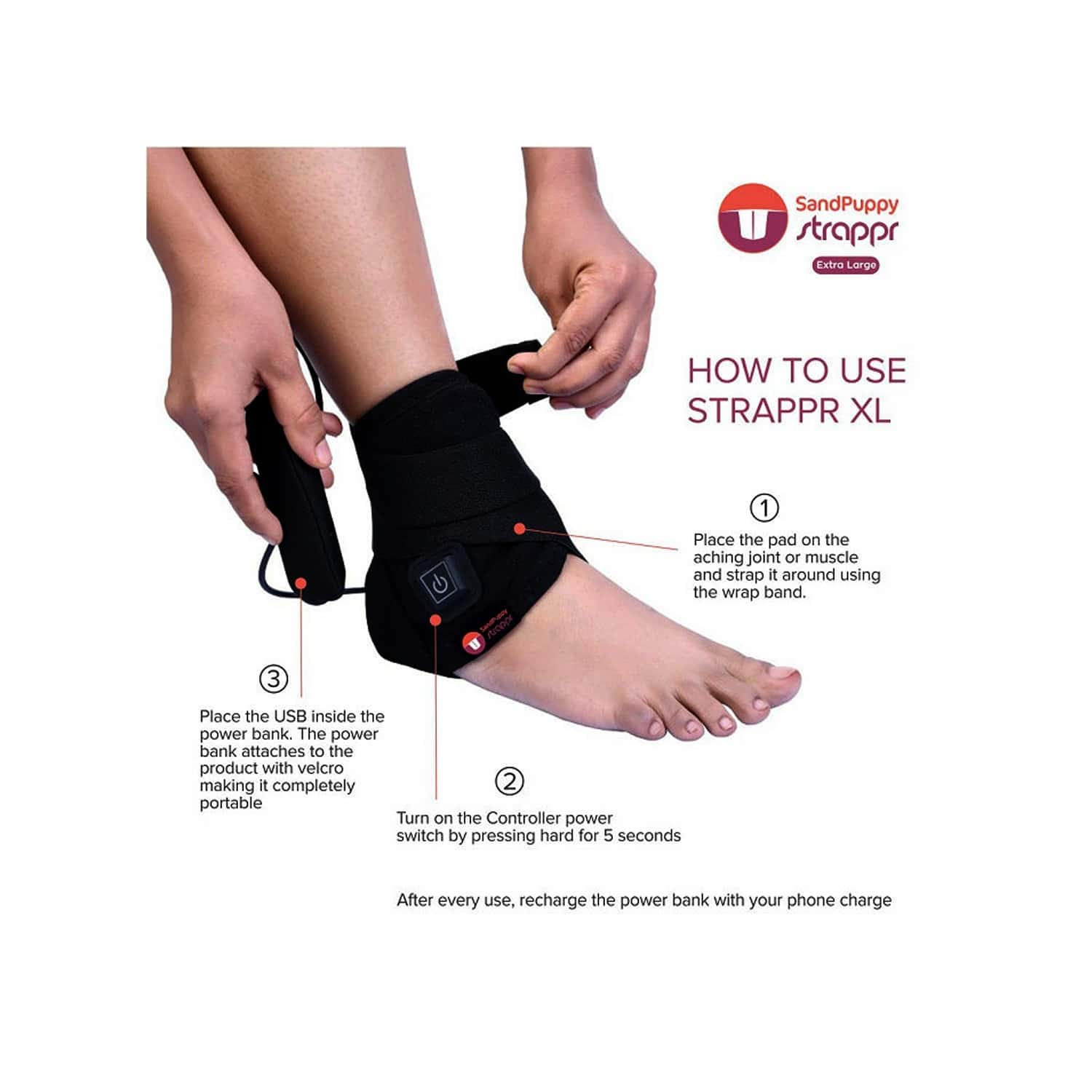 Sandpuppy Strappr (xl)   Wireless Heating Pad   For Knee Pain Ankle Pain And Joint Pain