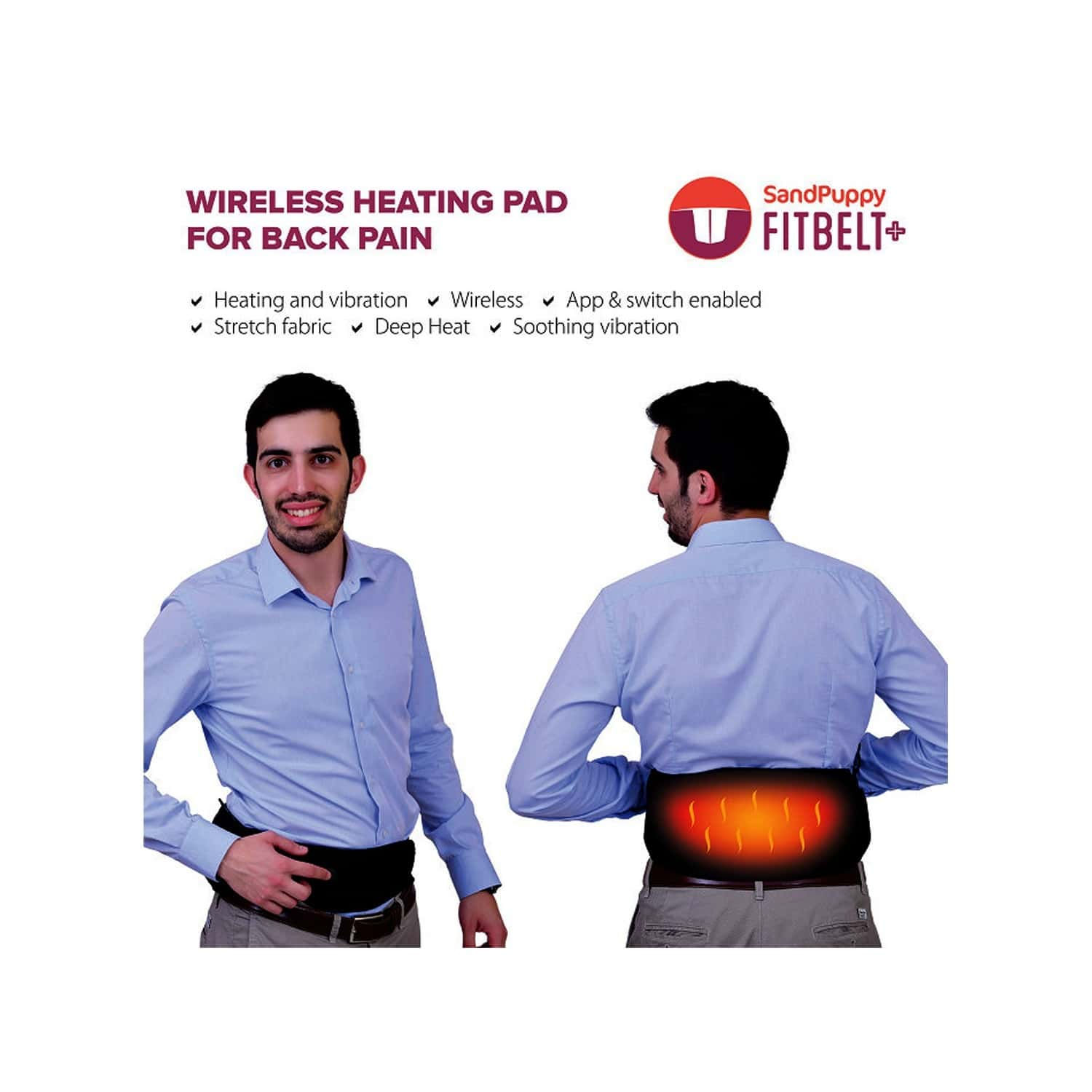 Sandpuppy Portable Wireless Electric Heating Belt For Back Pain Relief - Smartphone App Based Control (micro-vibration Feature)