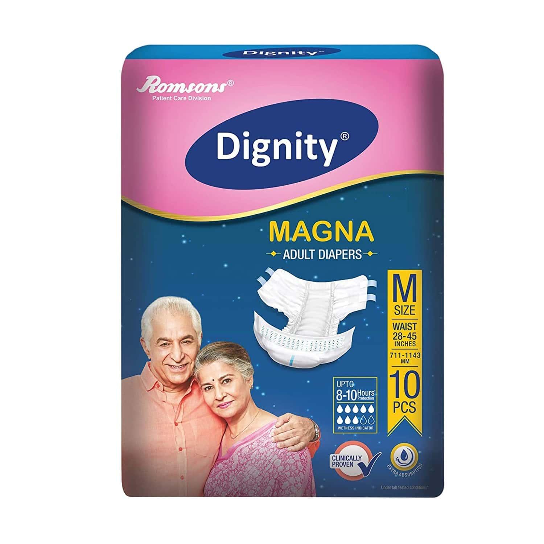 Dignity Magna Adult Diapers Medium 10pcs (pack Of 1)