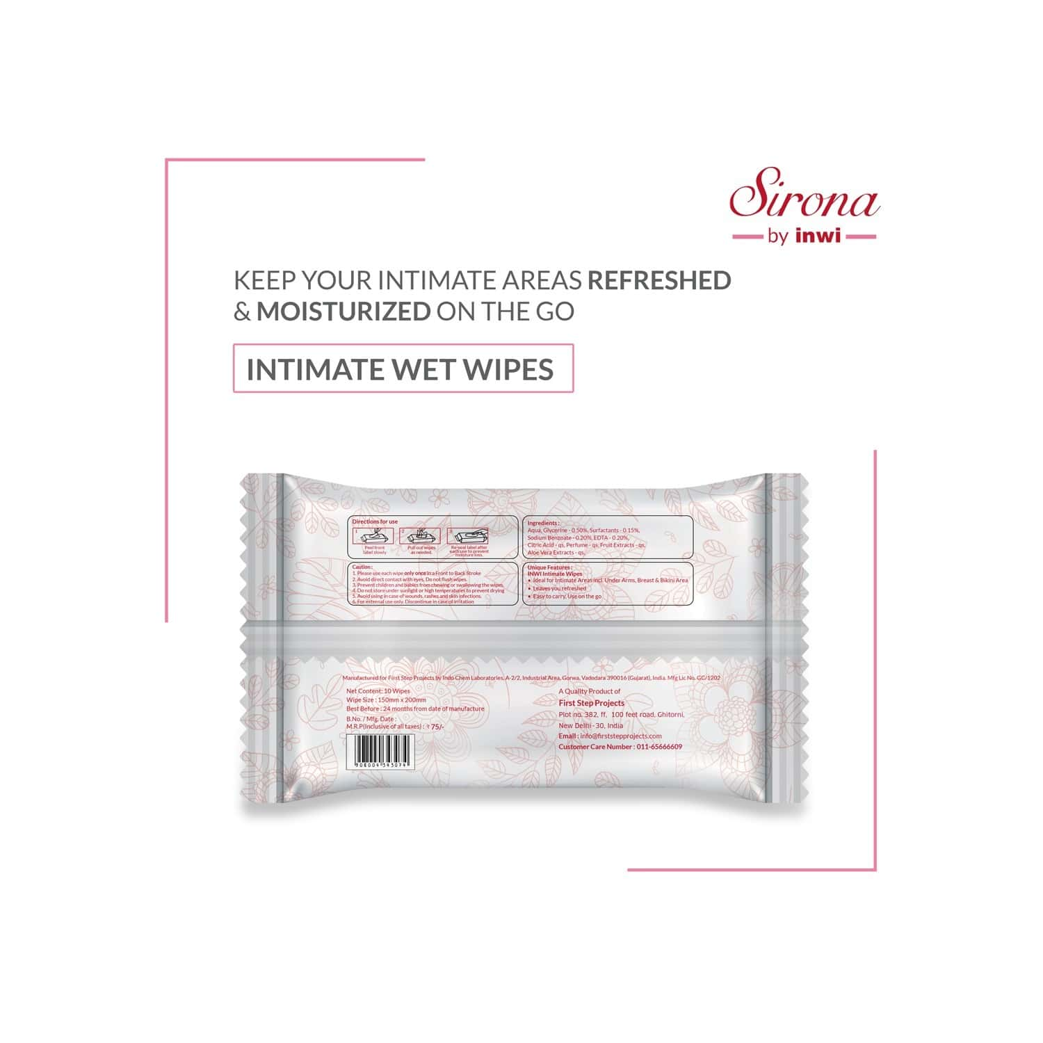 Sirona Intimate Wet Wipes For Cleaning Intimate Areas, Ideal For Pre And Post Sex - Pack Of 10